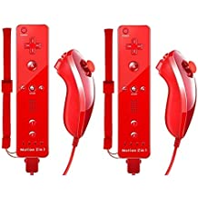 AMO® New Red 2 x Nunchuck 2 x Remote Nunchuk Built in Motion Plus Controller For Nintendo Wii U Remote WII + FREE SILICONE COVER