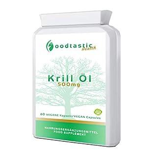 Foodtastic Krillöl Kapseln hochdosiert [500 mg] 60 Softgels Kapseln   wertvolle Omega-3-Fettsäuren kombiniert mit Astaxanthin   reich an DHA und EPA   2-Monate-Vorratspackung