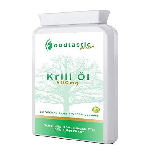 Foodtastic Krillöl Kapseln hochdosiert [500 mg] 60 Softgels Kapseln | wertvolle Omega-3-Fettsäuren kombiniert mit Astaxanthin | reich an DHA und EPA | 2-Monate-Vorratspackung