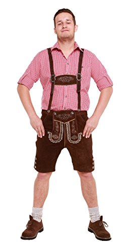 Herren Trachten Lederhose Kurz mit Trägern in verschiedenen Farben, Trachtenlederhose in Größe 46 bis 60 (50 (BW 87-94 cm), Braun)