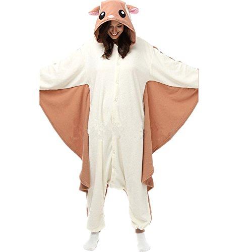 Jysport animal pigiama unisex in pile con cappuccio pigiama per bambini, ladie, uomo, flying mouse, l