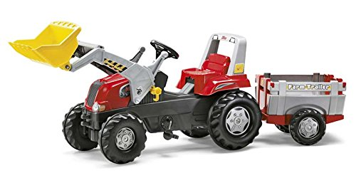 Trettrecker Rolly Toys 811397 rollyJunior RT | Traktor mit Frontlader | Lader und Anhänger rollyFarm Trailer | Flüsterreifen u Sitzverstellung | Motorhaube öffenbar | ab 3 Jahren | Farbe rot/schwarz/grau