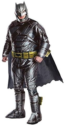 Batman v Superman Costume, Mens Deluxe Batman Armored Plus Outfit, Plus size, CHEST 46 - 52