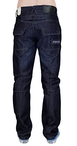 New Men Designer Crosshatch Revêtue Denim Regular Fit Straight Leg Jeans Trouser Dark Wash