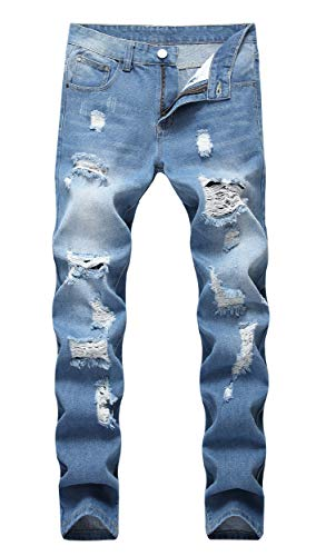 OKilr Herren Jeans Pjik Slim Skinny Fit Distressed Ripped Elastic Tapered Leg Denim - blau - 46 -