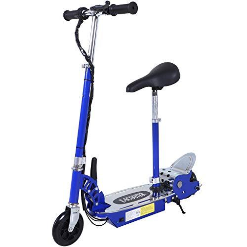 HOMCOM Patinete Eléctrico Niño Scooter Plegable con Manillar y Asiento Ajustable tipo Monopatín con Freno y Caballete 120W Carga 50kg 81.5x37x96cm Color Azul