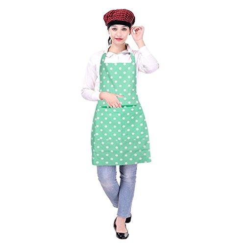 Icrafts Küchenschürze für Damen, mit Tasche, 100% reine Baumwolle, für den täglichen Gebrauch, maschinenwaschbar, Polka-Dots grün