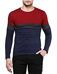 Urbano Fashion Men's Maroon, Charcoal Grey, Navy Blue Round Neck Full Sleeve T-Shirt