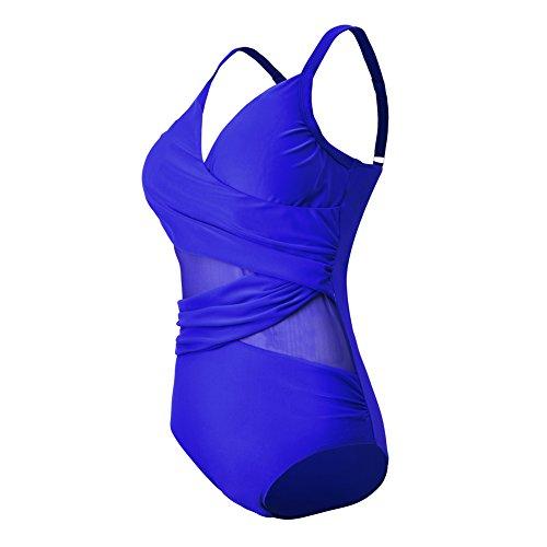 FeelinGirl Damen One Shoulder Badeanzug - Einteiliger Mit Asymmetrischer Schulter Einteilige Gaze Badebekleidung Bikini Set Blue