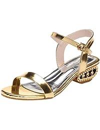 ZHRUI Sandalias de Mujer Zapatos de tacón Medio Bombas Superficiales de Punta Abierta Plataforma Antideslizante Correas