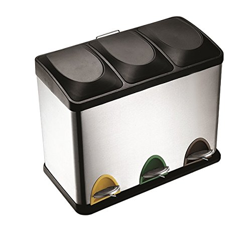 XL Edelstahl Müllsortiersystem 3 mal 20 Liter Inhalt - Qualität aus dem Hause RRR