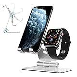 OMOTON 2 in 1 Supporto Regolabile per iPhone e iWatch in Alluminio Stand da Tavolo con Foro per Caricabatteria del Apple Watch- Adatto a Smartphone Samsung Huawei e Tablet Samsung e iPad,Argento