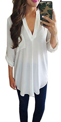 Yidarton Damen Chiffon Blusen Beiläufige V-Ausschnitt Oberteil Tops Sommer T-shirt (M, Weiß)
