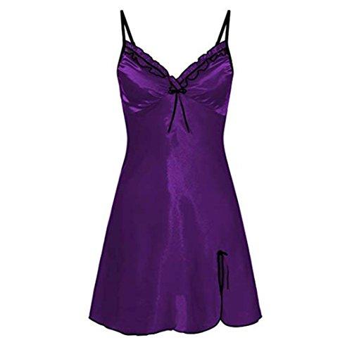 Bellelove  hölzernes Ohr Gefaltete Bogen sexy Nachthemd, Damen Abendkleid große Größe Falten...