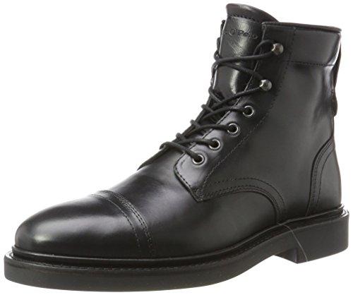 Marc O'Polo Herren Lace Flatheel Bootie 70824106301108 Combat Boots, Schwarz (Black), 44 EU (Mops Boot Black)
