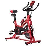KUOKEL K608 Bicicleta de Spinning Bicicleta estática con Rueda de inercia Resistencia Variable Digital Pantalla LCD Soporte de Agua Asiento y Manillar Ajustables Profesional Uso doméstico (Rojo)