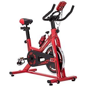 KUOKEL K608 – Indoor Cycling Bike Fitnessbike Fahrradtrainer mit Digitaler Monitor (Hometrainer 11kg Schwungrad Gepolsterter Armauflage, Komfortsattel, Pulsmessung bis 120kg)