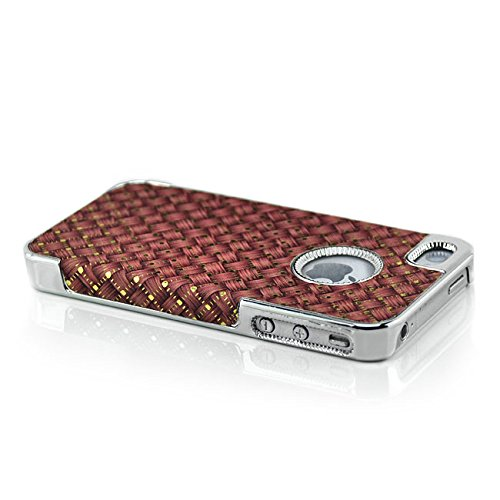 Saxonia Apple iPhone SE 5 5S Hülle Case Back Cover Schutzhülle Silber Glitzer Rot