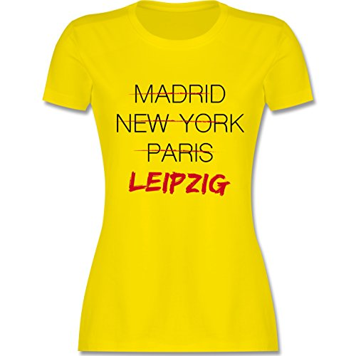 Shirtracer Städte - Weltstadt Leipzig - Damen T-Shirt Rundhals Lemon Gelb