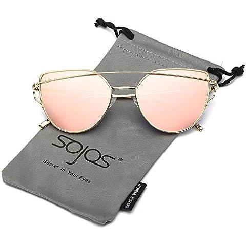 SojoS Moda Twin-Beams Occhi di Gatto Donna Specchio Metallo Telaio Occhiali da Sole Cat Eye Women Sunglasses