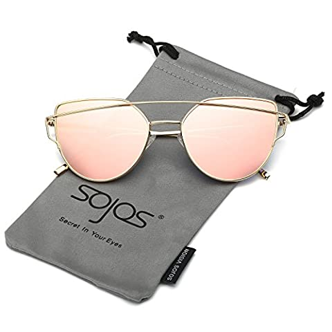 SojoS Fashion Twin-Beams Metal Frame Mirrored Cat Eye Women Sunglasses SJ1001 With Gold Frame/Pink (Occhiali da sole)