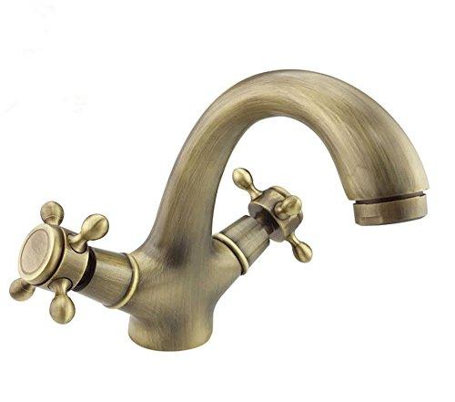 XPYFaucet Wasserhahn Armatur Mischbatterie Antikes Waschbecken Kupfer Kupferkörper Europäischer Retro-Warm- und Kaltwassersatz mit doppeltem Umweltschutz