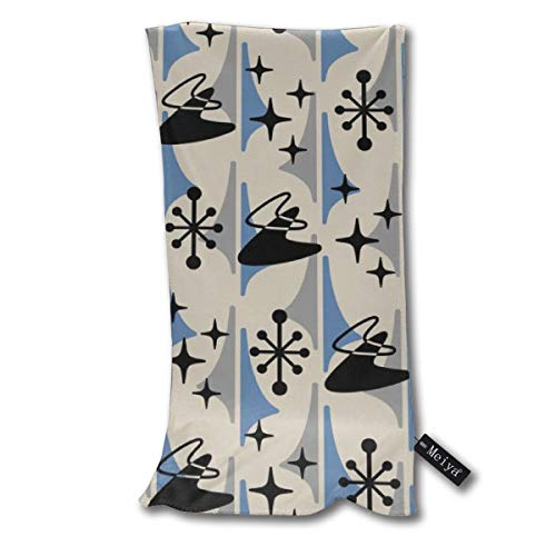 Liliylove Badetuch Mid-Century Modern Cosmic Boomerang schwarz blau und grau für Spa, Pool, Fitnessstudio, leicht, weich saugfähig