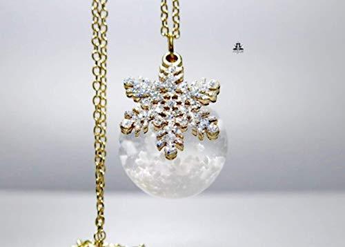 Stern Kette Schneekugel - Frau Holles Schneekugel mit Schnee und Eiskristall/Valentinstag Geschenk/Wasser Kette/Geschenk für Sie