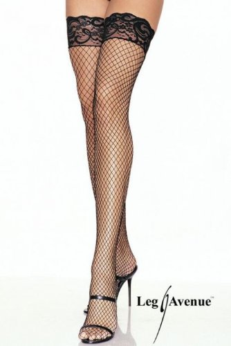 Leg Avenue - Fishnet Netz-Overknees Stay -Up - 9201, Farbe:Weiss;Groesse:One Size