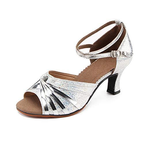 Yefree scarpe da ballo latino per le donne tracolla confortevole traspirante il giro chiuso scarpe da ballo in pelle mid heel performance scarpe da ballo