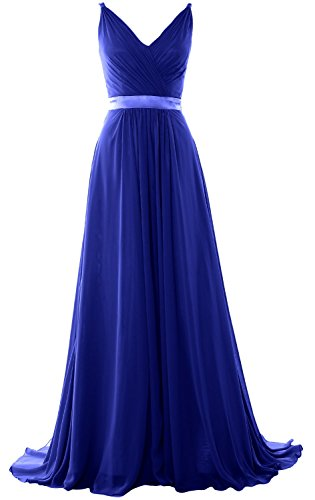 MACloth Women V Neck Mid Open Back Long Bridesmaid Dress Formal Evening Gown Royal Blue