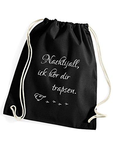 Turnbeutel schwarz bedruckt mit nachtijall - Rucksack / Sportbeutel / Sprüche Gymsack vom Label SPREE Klamotte - Statement Spruch Beutel (Label Volle Sonne)