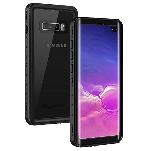 Lanhiem für Samsung Galaxy S10 Plus Hülle, [IP68 Zertifiziert Wasserdicht] Handy Hülle mit Eingebautem Bildschirmschutz, Stoßfest Staubdicht & Outdoor Schutzhülle - Schwarz