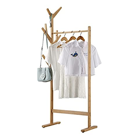 LANGRIA Bamboo Single Rail Garment Rack with Side 8-Hook Display Stand Hall Tree Branch Coat Stand with Levelling Feet for Jacket Long Coat Dress Umbrella Hats, Bamboo Natural Colour