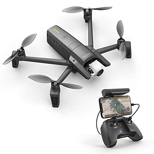 Parrot Anafi - Dron cuadricóptero (4K HDR, 21 Mpx, slow-motion y hyperlapse, 15 m/s, 25 minutos de vuelo, gimbal 180º) + Mando + Estuche de transporte + SD Card 16 GB + 8 Palas de hélice, color gris