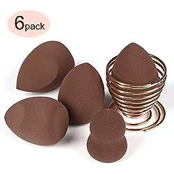 Esponja Maquillaje, SUERW [6-Pack] Esponjas para Maquillaje Facial de Belleza (5 Piezas Esponja De Maquillaje + 1 Piezas Makeup Esponja Soportes)