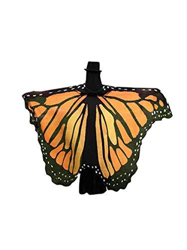 GJKK Damen Chiffon Weiches Gewebe Schmetterlingsflügel Schal Fee Flügel Nymph Pixie Kostüm Zubehör Cosplay Schmetterlingskleid Schmetterling Kostüm Für Show Tanzen Gewidmet Party (Orange, - Tap Dance Show Kostüm
