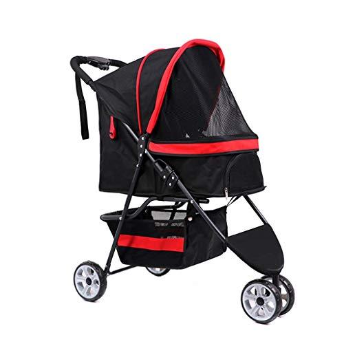 Pet Kinderwagen Travel Dog Cart Lichtwagen Car Bag Falten, Abnehmbare 3 Wheeler Gehen Aus (Farbe : Schwarz) -