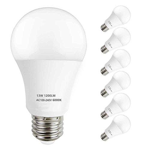 LAKES E27 A60 13W LED Glühlampe, 100W Halogenlampenäquivalent, nicht-Dimmable, 1200LM, Energiesparende LED Glühbirne, 6000K Kaltes Weiß, 6-PACK (Watt Glühlampen 2 Glühlampen 100)