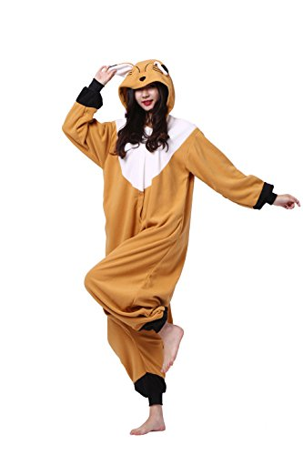 Magicmode Unisex Adult Pyjamas Partei Cosplay Kostüm Cartoon Tier Kigurumi Kapuzen-Strampelanzug Anime Nachtwäsche Fuchs XL (Partei Cartoon Kostüme)