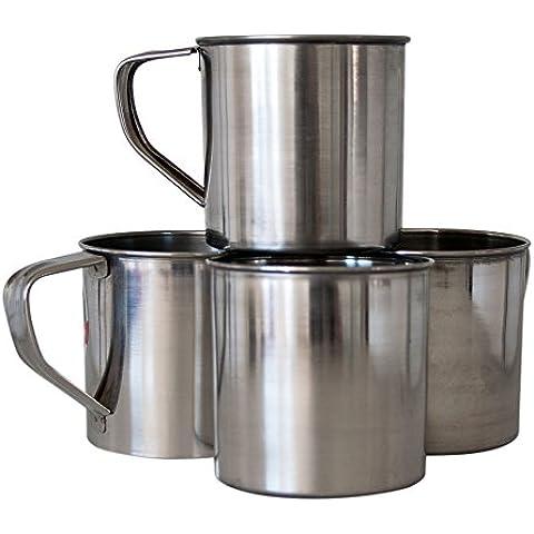 Acero inoxidable taza con mango | camping Taza Vaso de viaje 0,5l | Vaso Taza taza de acero inoxidable para camping y Exterior, 4