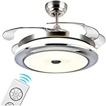 LED Stealth Einziehbarer Deckenventilator Beleuchtet Wohnzimmer Schlafzimmer Esszimmer Haushalts Variable  Frequenz Ventilator Lichter Mit Elektrischem ...