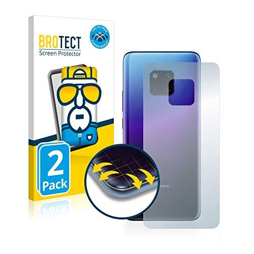 BROTECT Full Cover Schutzfolie für Huawei Mate 20 Pro (Rückseite) [2er Pack] - Full Screen Bildschirmschutz, 3D Curved, Kristall-Klar