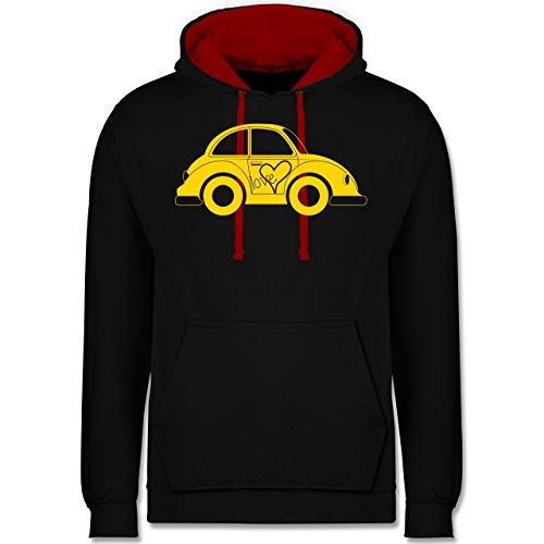 Autos - Liebes Beetle Auto - Kontrast Hoodie Schwarz/Rot