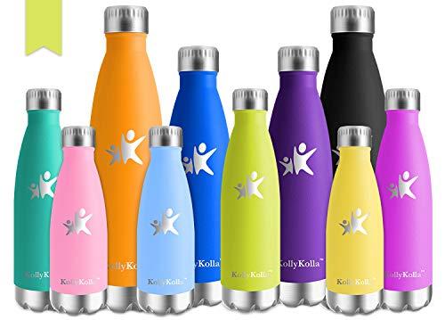 KollyKolla Vakuum Isolierte Edelstahl Trinkflasche, 500ml BPA Frei Wasserflasche Auslaufsicher, Thermosflasche für Sport, Outdoor, Fitness, Kinder, Schule, Kleinkinder, Kindergarten (Oliven)