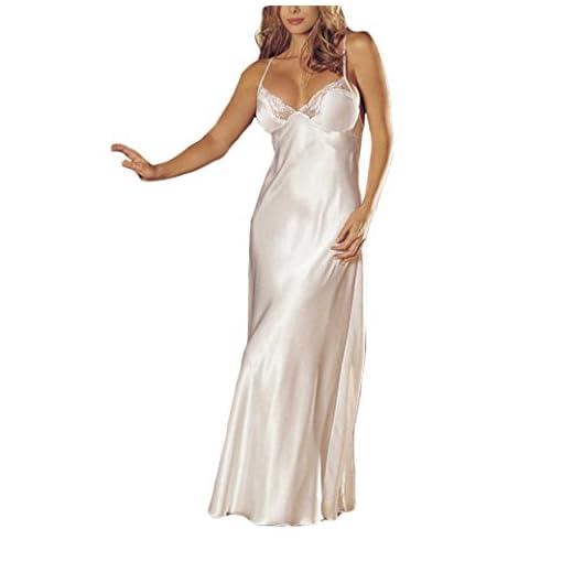 Fami-Capi-di-abbigliamento-Lingerie-da-Donna–Fami-Womens-Sexy-Lingerie-Lace-Babydoll-Underwear-Sleep-skirt-Satin-Lace-Long-Gown