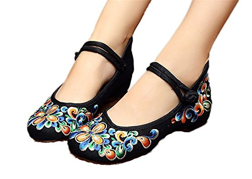 L-RUN Womens Embroidery Shoes Chinese Traditional Mary Jane Travel Walking Shoes(6 UK / 39 EU,Black Orange)