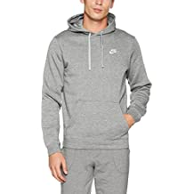 Nike M Nsw Club Po Bb Sudadera con Capucha, Hombre, Gris (DK Grey Heather) / Blanco, L