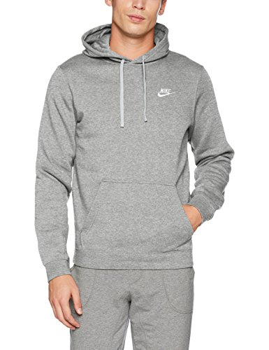 Nike Herren Sportswear FLC Club Hoody, Dark Grey Heather/Dark Grey Heather/White, S (Dunks Grau Nike)