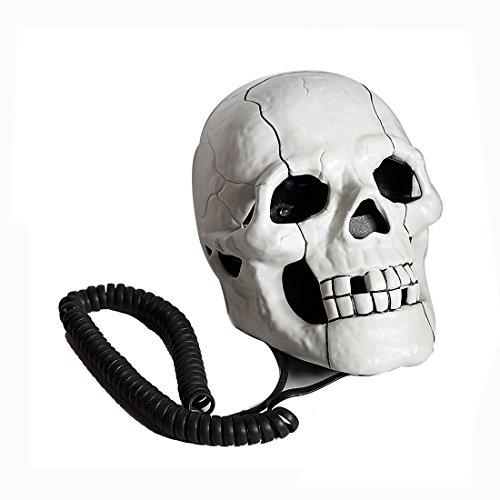 Preisvergleich Produktbild Weltzukaufen Schädel-Form-Telefon Kreatives Modisches Spielzeug Spezielles Telefone in Schwarz Weiß (weiß)